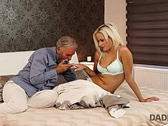 DADDY4K. Blonde-haired dollface Ria Sun tries old sausage of BF's papa mom tube