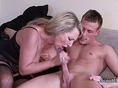 German MILF entice blossoming chap to fuck when home exclusive